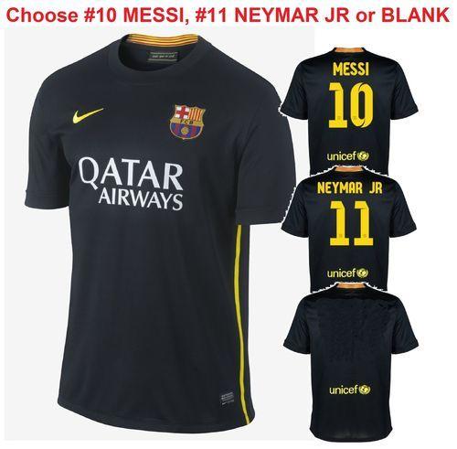 9f2825530 Nike FC Barcelona NEYMAR 11 MESSI 10 Third Jersey 3rd 2013-14 532824-013  Black