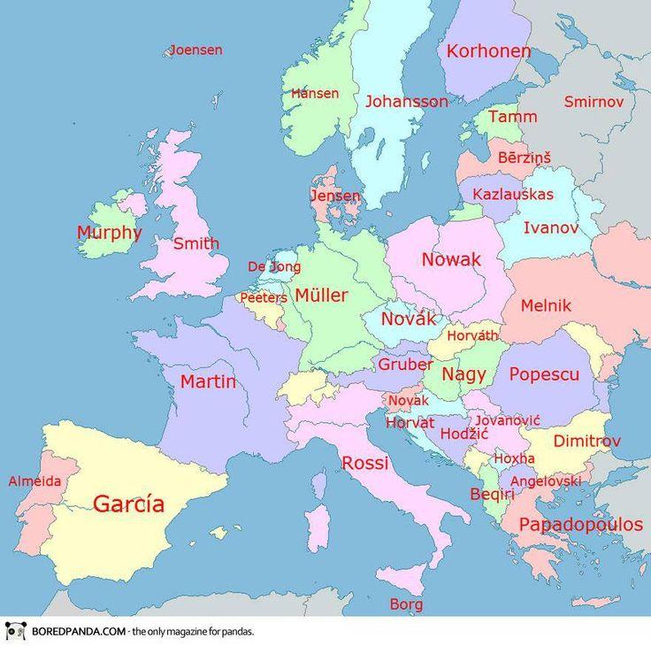 Une carte des noms de famille les plus courants dans les pays d'Europe. (map of family names in  Europe)