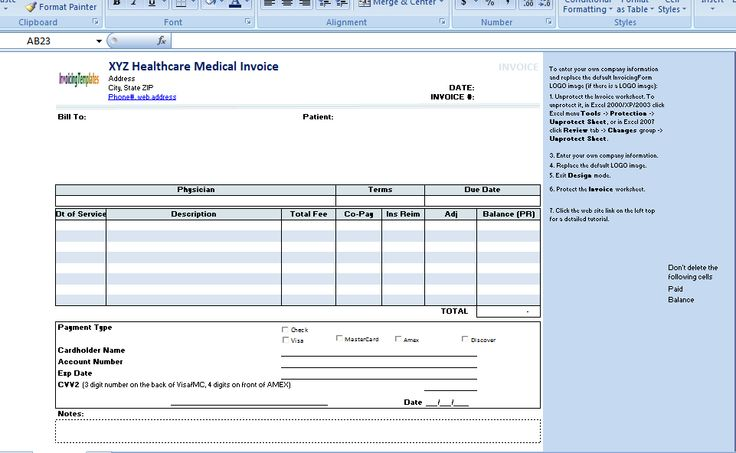 Free Medical Invoice Template Excel PDF Word (doc) health - how to create a invoice in excel