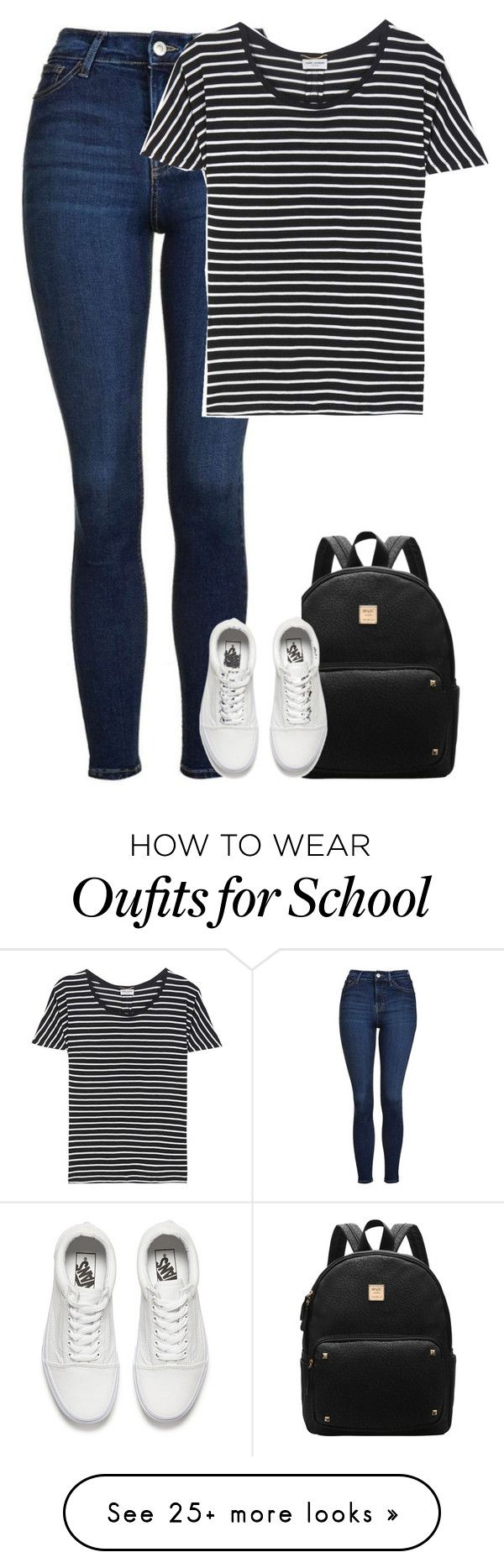 """School 2"" by fanny483 on Polyvore featuring Topshop, Yves Saint Laurent and Vans"