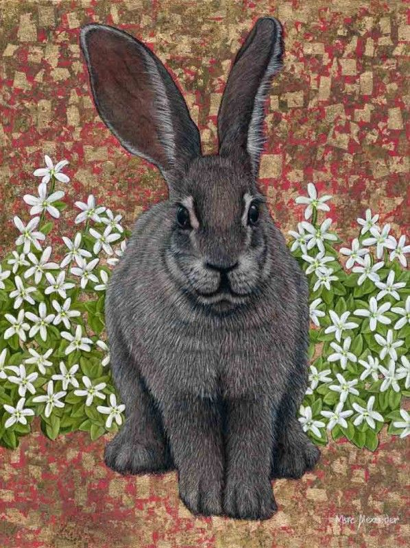Riverine Rabbit, Oil and Gold Leaf on Canvas,50cm by 40cm, (2015) by Marc Alexander