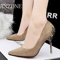 Wish | Fashion Sexy Carve Flower Metal High Heel Shoes Shallow Mouth Pointed Single Shoes Comfortable Flock Party Wedding Shoes