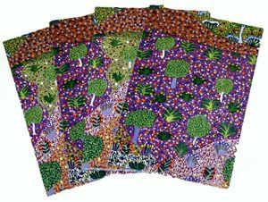 Aboriginal design Wrapping Paper Ampilatwatja Arts Julianne Kngwarrey Morton Bush Medicine Plants Size:  67cm x 50cm  Code:  WRAP-BWA/JKM $2.50 each