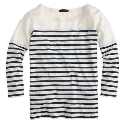 "Sailor stripes make everything better. So, we applied them to our signature supersoft cotton—say hello to your new favorite tee. <ul><li>Loose fit.</li><li>Body length: 24 3/4"".</li><li>Cotton.</li><li> Machine wash.</li><li>Import.</li></ul>"