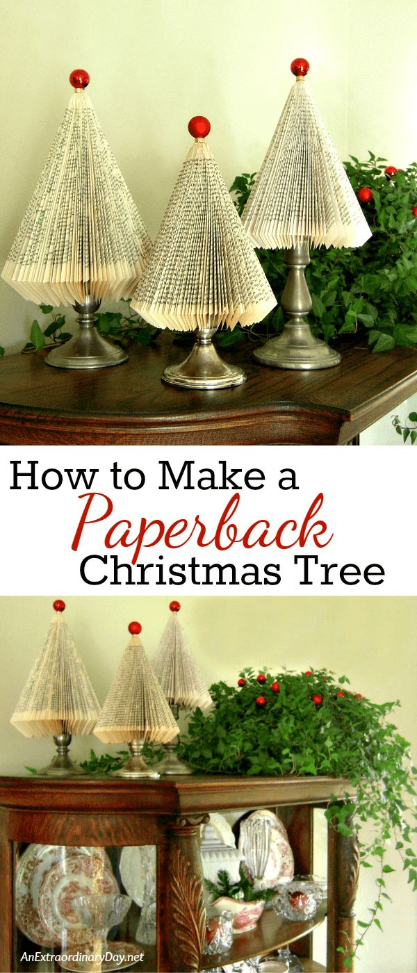 How to Make Paperback Book Christmas Trees with this super detailed tutorial from AnExtraordinaryDay.net  Click through for all the details so you can make a forest for gifts or whimsical Christmas home decor.