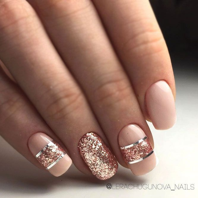 Rose Gold Jewelry Nail Polish Shoes And More Ideas How To Wear This Color Rose Gold Nails Design Gold Nail Designs Classy Nail Designs