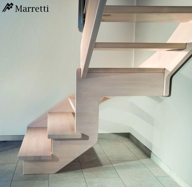 Escaleras de interior Flo, la nueva colección asequible de Marretti. FLO_130, escalera de madera de haya maciza