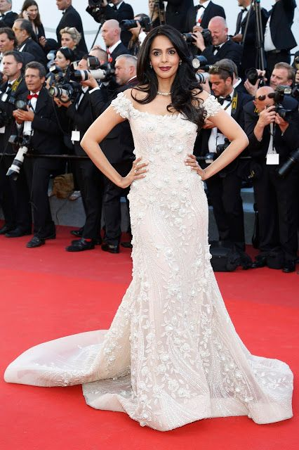 Mallika Sherawat looks hot in georges hobeika pink beige, off-shoulder mermaid gown at the 70th cannes film 2017 Photos - Kapoor Cleavage