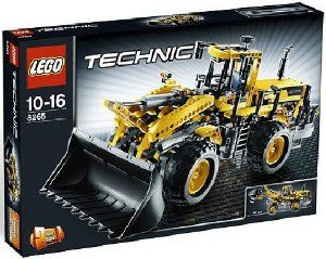 """LEGO TECHNIC Front Loader 8265 by LEGO. $287.95. Front Loader with bucket extended measures 19.3"""" (49cm) long. Features manual steering and a V6 engine with moveable pistons. Realistic bucket functions (raise, lower and tip). 1,061 elements. An exciting and challenging building experience with this 2-in-1 real world model. From the Manufacturer                King of the construction site!  This detailed and rugged front loader has a massive bucket scoop that ..."""