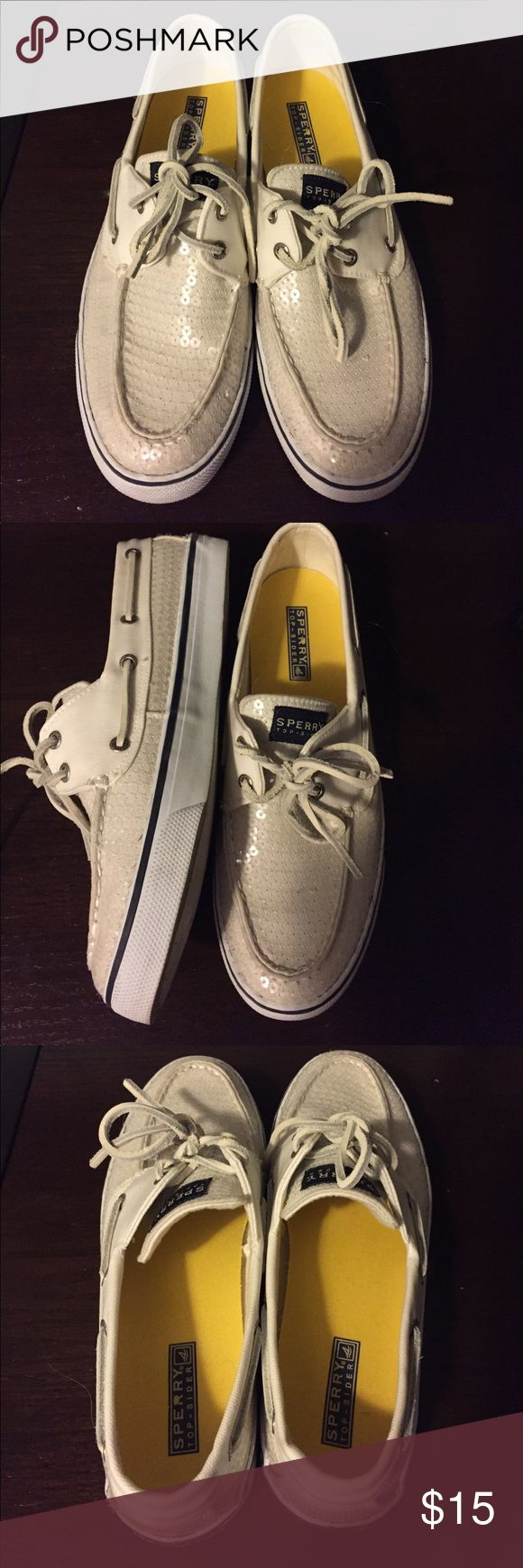 Sperry Top-Sider White Boat Shoe Very feminine white boat shoes with a slight sparkle! Sperry Top-Sider Shoes Flats & Loafers