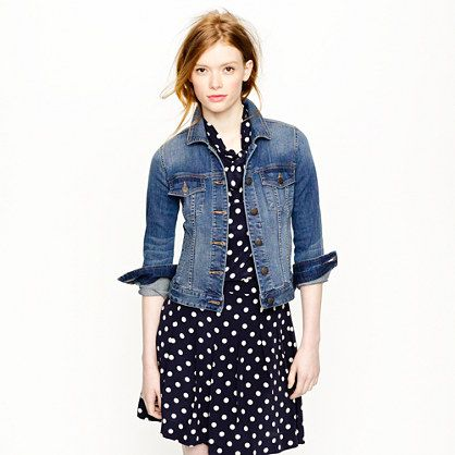 denim + polka dots: Polka Dots Dresses, Jcrew Mine, Jeans Jackets, J Crew, Style Inspiration, Crew Stretch, Denim Jackets, Stretch Denim, Outerwear Woman