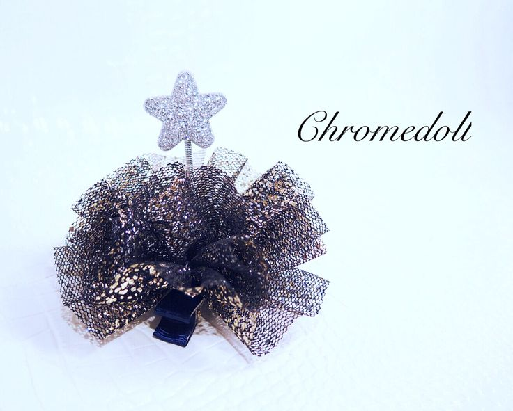 Hair accessories with black  color mesh and gold glitter. This is unique Item cuz of spring inside. so they are shaking when you moving with it. Very cute and adorable-