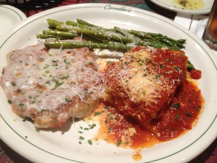 Carabba's chicken parm and lasagna