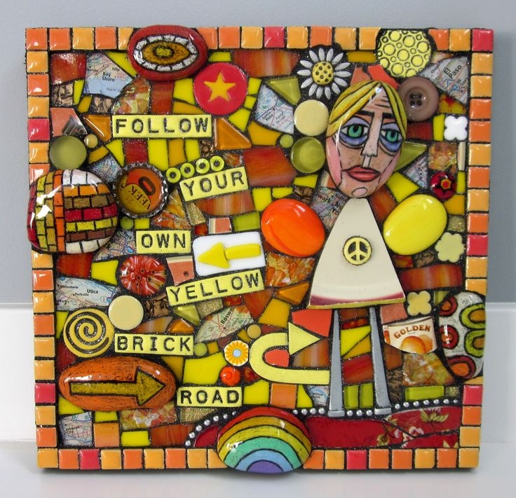 FOLLOW YOUR OWN YELLOW BRICK ROAD. handmade mixed media mosaic stained glass found object rainbow painted rocks assemblage art