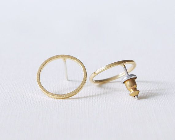 18k Gold Bushed Open Round Stud Earrings for Women Simple Geometric Circle Party Earrings Jewelry