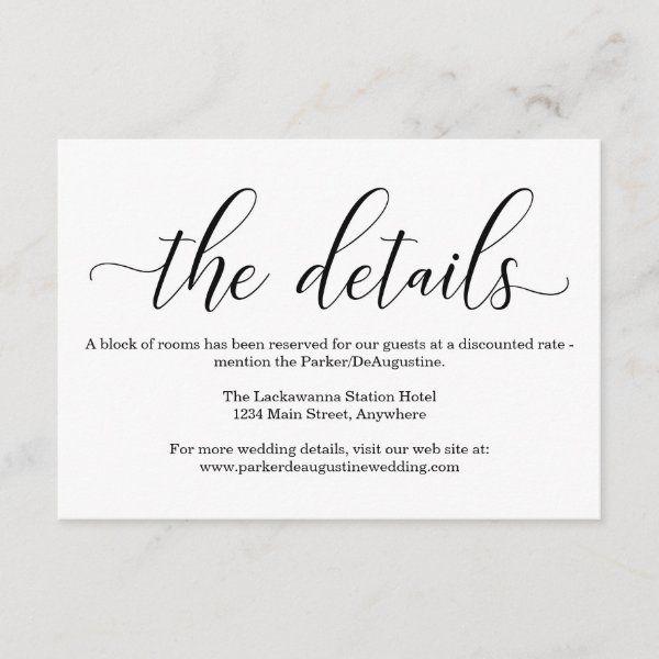 Elegant Calligraphy Information Enclosure Card Zazzle Com In 2021 Wedding Invitation Details Card Enclosure Cards Wedding Invitation Details Card Wording