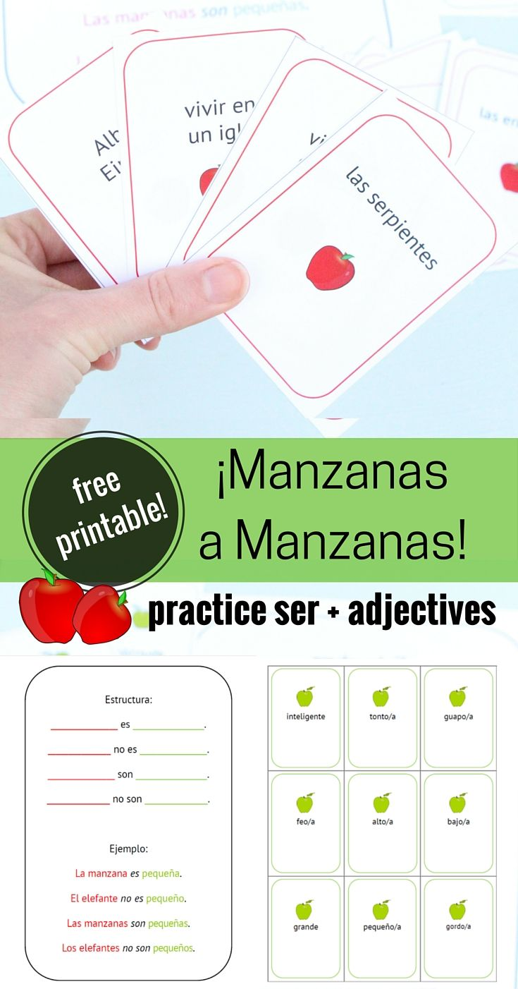 Fun way for learning ser + adjectives: play Manzanas a Manzanas (Apples to Apples) with this free printable. Includes several printed cards, and blank cards to personalize for your classroom.