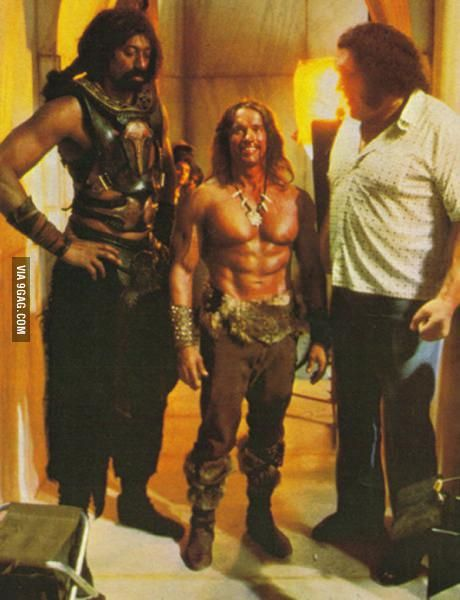 Size is relative - Arnold Schwarzenegger looks small standing next to Wilt Chamberlain & André The Giant