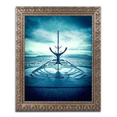 Trademark Art Viking Ship by Philippe Sainte-Laudy Framed Photographic Print Size: