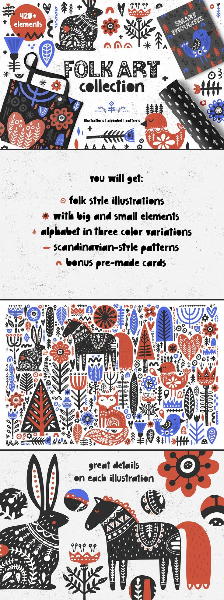 Folk Art Collection is big set of graphic in scandinavian style - you will find animals, flowers, trees, hearts, ornaments and even an alphabet there, more than 420 elements in total. Mix & match illustrations with letters to create greeting cards or use graphic on t-shirts, posters, mugs.