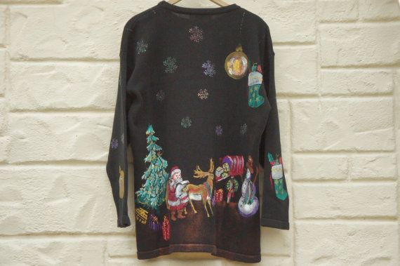 Vintage 90s Hand painted Christmas Sweater Ugly by SycamoreVintage