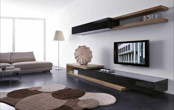 meuble suspendu de salon, un salon contemporain