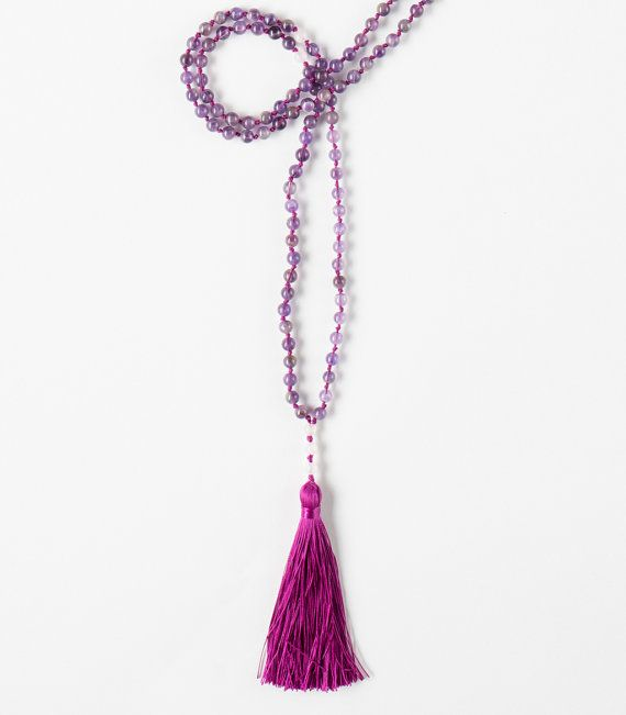 108 Amethyst beads Tibetan Buddhist Mala with Pink Quartz  True-Self Mala  Amethyst is a calming stone who blocks the negative energies and it helps to remember and understand your dreams. During meditation, amethyst banishes distracting thoughts, allowing achievement of peace and profound understanding. In addition, the stone is believed to enhance the immune system, as well as purify blood.  Pink Quartz is the stone of unconditional love and infinite peace is the most important crystal for…