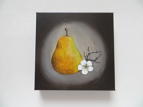 pear painting, yellow and brown, acrylic painting, original painting, kitchen still life art, pear and flower, kitchen art