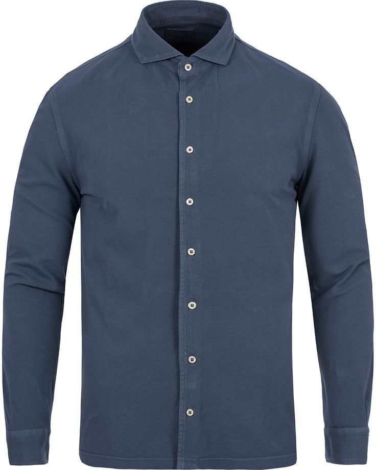 Gran Sasso Washed Knitted Oxford Shirt Blue hos CareOfCarl.com
