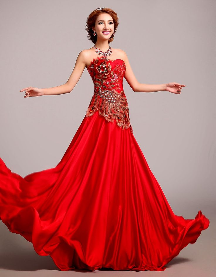 32 best asian wedding ideas images on pinterest for Traditional red chinese wedding dress