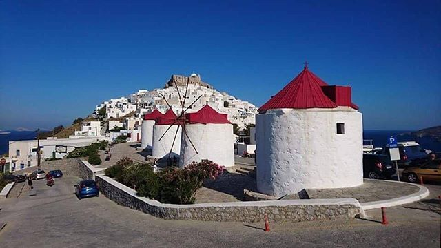 Windmills and Chora! Photo: Clare Coleman |#Astypalaia #Astypalea #GreekIsland #VisitGreece #GoGreece #Summer #Holiday #Vacation #PicOfTheDay