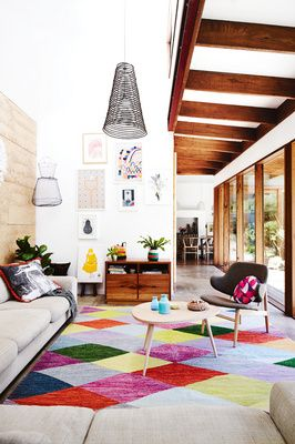 colorful geometric rug  in the living room | #home