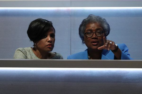 Donna Brazile Photos - Baltimore Mayor Stephanie Rawlings-Blake and Donna Brazile speak during the first day of the Democratic National Convention at the Wells Fargo Center, July 25, 2016 in Philadelphia, Pennsylvania. An estimated 50,000 people are expected in Philadelphia, including hundreds of protesters and members of the media. The four-day Democratic National Convention kicked off July 25. - Democratic National Convention: Day One