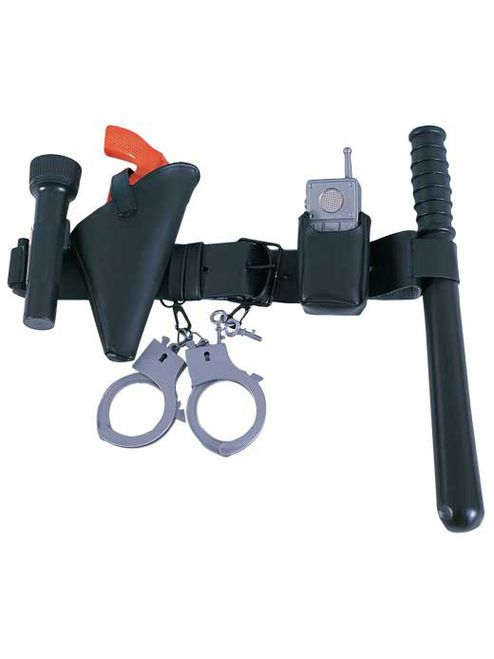 Child Police Officer Kit - Watch your behaviour with this Child Police Officer Kit set. This is a great kit to add to your Halloween or dress up costume.  This Police Officer kit includes a vinyl belt on which you put your plastic baton, phone with case, handcuff and keys, pistol with pouch and flashlight (it requires 2 'AA' batteries which are not included). #police #kids #costume #yyc