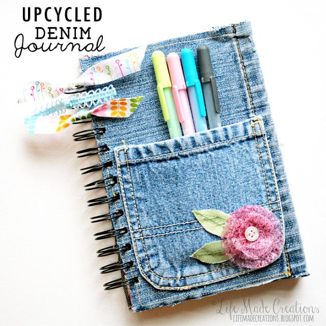 Denim journal cover – Glue on a piece of denim onto a chipboard and add some patterned paper inside to make a stylish denim journal cover. You can add embellishments like flowers and lace as you desire.