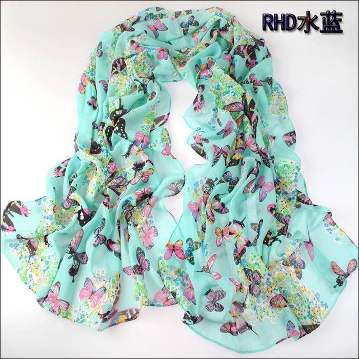 new fashion style butterfly Scarves women's scarf long shawl spring silk pashmina chiffon infinity scarf