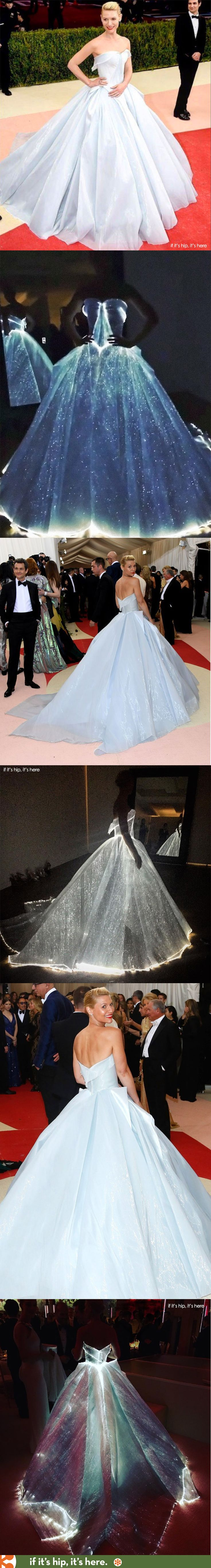 While Clare Danes' pale blue Zac Posen ballgown worn to the 2016 Met Gala at first seemed tame, she proved to light up the place when we realized it glowed in the dark.