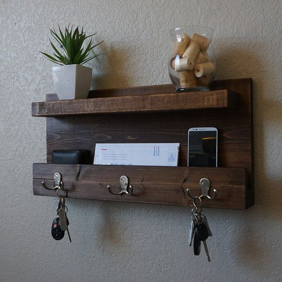 Modern Rustic Mail Organizer Shelf with Magazine Rack and Key Hooks
