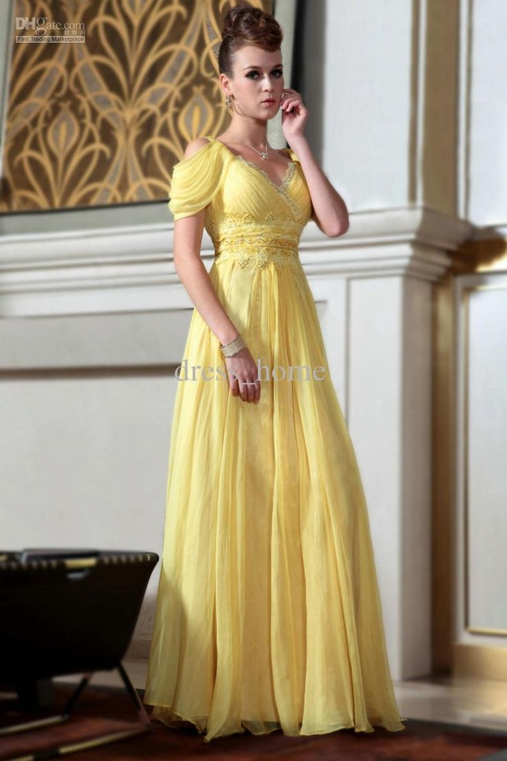 Long Yellow Dresses for Weddings