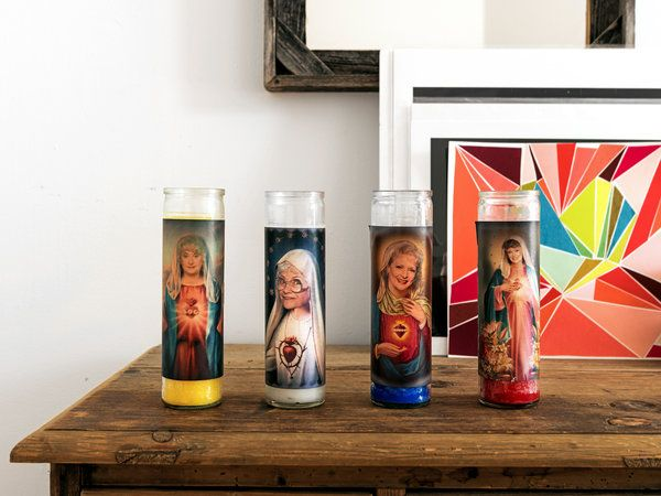 Golden Girls prayer candles. Sara Bareilles' apartment in Lower Manhattan. From VegasGiblet on Etsy. Pic 6 in slideshow. NY Times