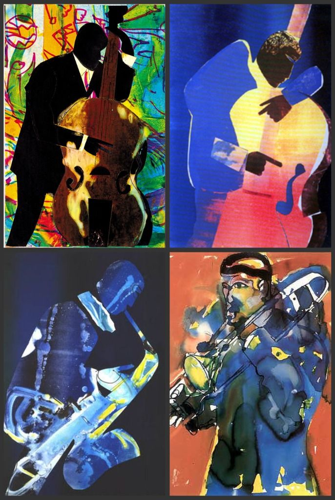 Romare Bearden Jazz Collage http://urchinmovement.com/2011/02/07/observing-the-obscure-romare-bearden/