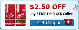 New Coupon!  $2.50 off any 2 EIGHT O CLOCK Coffee - http://www.stacyssavings.com/new-coupon-2-50-off-any-2-eight-o-clock-coffee/