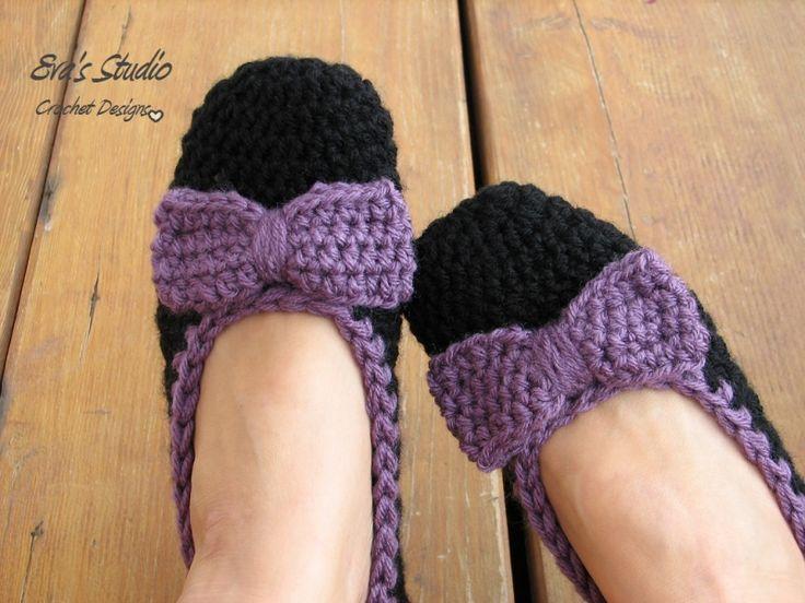 Crochet Slippers With Bow Crochet Pattern