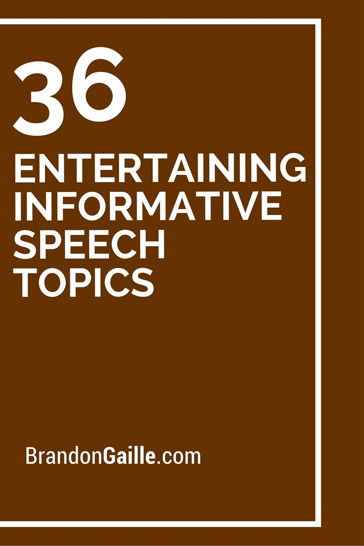 ideas for informative speeches An informative speech is given for the purpose of providing information about a topic to the audience notice that the purpose of an informative speech is similar to the purpose for writing an informative essay the organizational structure and type of information in an informative speech would be.