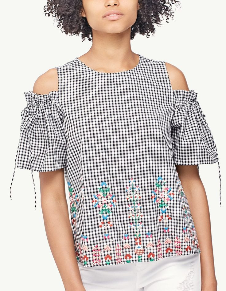 Embroidered top with cut-out shoulders - Tops | Stradivarius Other Countries