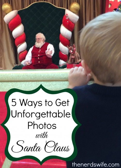 5 Ways to Get Awesome Photos With Santa - The Nerd's Wife   When I worked with Santa back in college, he always wanted us to tell the parents of babies to carry their baby toward Santa with the baby's back to him, hand the baby off, and step toward the camera. The goal was for the photographer to snap the picture before the baby had a chance to realize he/she was now in the arms of a big strange man.