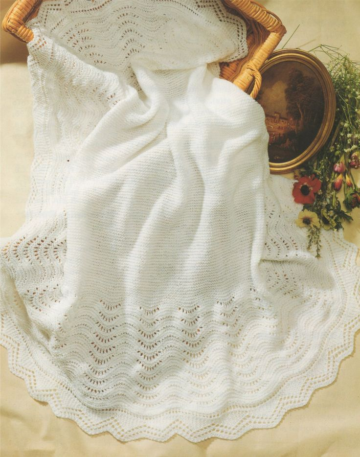 PDF Baby Shawl Knitting Pattern : Newborn Babies . Blanket . Pram or Cot Cover…