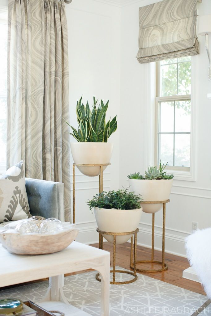 Obsessed with this plant arrangement for that empty corner in your living room! Defiantly something different, instead of plants on the floor!