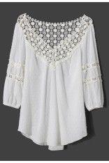 Polka Dots Crochet Collar Mid-Sleeve White Top