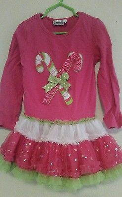 Pre-owned *Emily Rose* pink, green, white, christmas Candy Cane dress,size 5